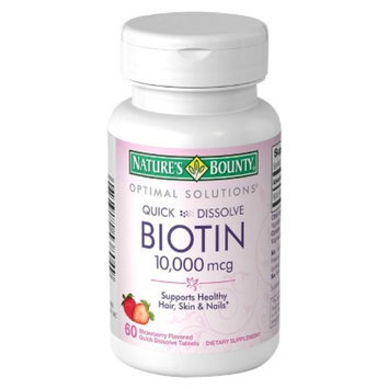 Nature's Bounty Optimal Solutions Strawberry Flavored Quick Dissolve Biotin Tablets - 10000mcg