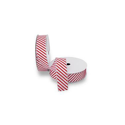 2 Pack Premium Wired Satin Ribbon - White Satin Ribbon with Red Candy Cane Stripes and a Silver Edge (50 yds. each)