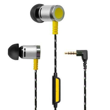 Oblanc Art of Sound In-Ear Ear Bud Headphones with Strong Woven Cable Cords, and In-Line Mic - Yellow