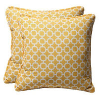 Pillow Perfect Outdoor 2-Piece Square Toss Pillow Set - Yellow/White Geometric 18
