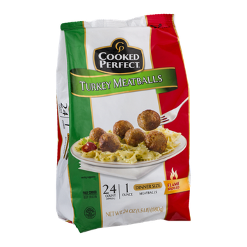 Cooked Perfect Turkey Meatballs Dinner Size - 24 CT