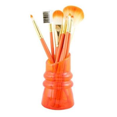 Jacki Design FYD38010OR Cosmopolitan 7Pc Makeup Brush And Holder Set Orange
