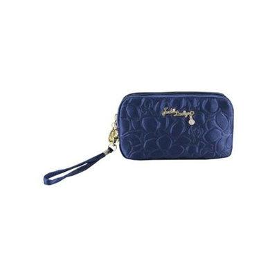 Jacki Design ABC14016DB Royal Blossom Cosmetic Bag With Wristlet Dark Blue