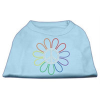 Mirage Pet Products 5269 XXXLBBL Rhinestone Rainbow Flower Peace Sign Shirts Baby Blue XXXL 20