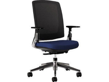 Hon Lota Series Mesh Mid-Back Work Chair, Navy Fabric, Polished Aluminum B