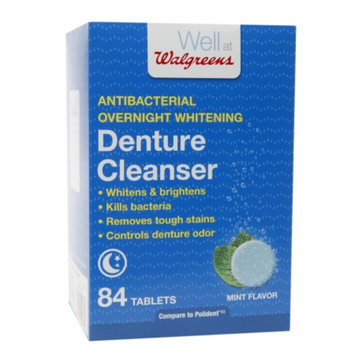 Walgreens Antibacterial Overnight Whitening Denture Cleanser Tablets, Mint, 84 ea