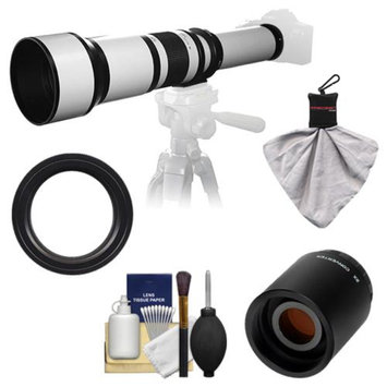 Samyang 650-1300mm f/8-16 Telephoto Lens (White) with 2x Teleconverter (=650-2600mm) for Pentax K-30, K-7, K-5, K-01, K-R Digital SLR Cameras