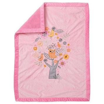 Koala Baby Plush Blanket - Tree/Owl - Pink