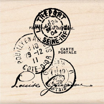 Inkadinkado Wood Mounted Rubber Stamp K-Paper Artsy Tre'port Postal