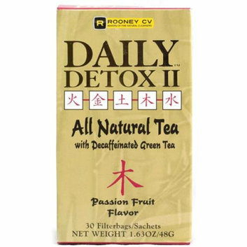 Wellements Rooney CV Daily Detox II All Natural Decaffeinated Tea Passion Fruit 30 Sachet