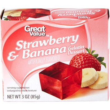Great Value: Strawberry Banana Gelatin Dessert, 3 Oz
