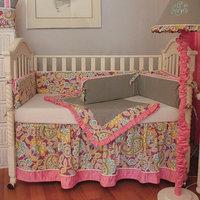 Hoohobbers Flirty Flowers 4-piece Crib Bedding Set - Pink