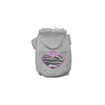 Ahi Zebra Heart Rhinestone Hoodies Grey XS (8)