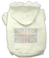 Mirage Pet Products 5416 XXLCR British Flag Hoodies Cream XXL 18