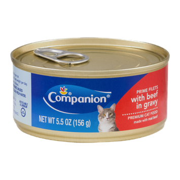Companion Premium Cat Food Prime Filets with Beef in Gravy 5.5 OZ