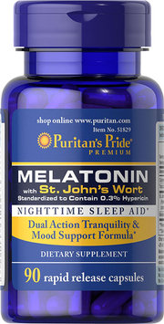 Puritan's Pride Melatonin with St. John's Wort 3 mg / 900 mg-90 Capsules