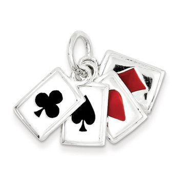 Cellini, Inc goldia Sterling Silver Enameled Playing Cards Charm