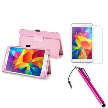 Insten INSTEN Pink Leather Stand Case+Screen Protector+Stylus w/3.5mm Plug Cap For Samsung Galaxy Tab 4 7.0 7