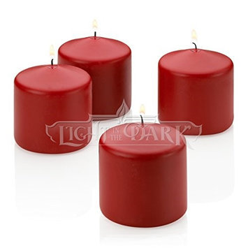 Light In The Dark Candles 3 in. x 3 in. Unscented Red Pillar Candles (Set of 4) LITD-R-PILLAR-3X3-SET OF 4