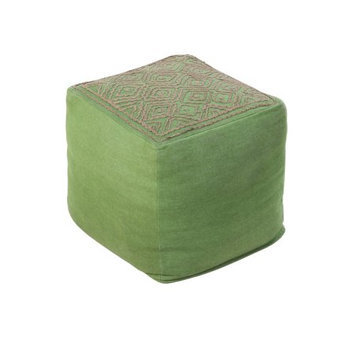 Diva At Home 18 Apple Green and Mocha Brown Diamond Bolts Linen Square Pouf Ottoman