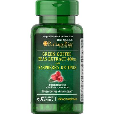 Puritan's Pride Green Coffee Bean 400 mg and Raspberry Ketone 100 mg-60 Capsules