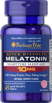 Puritan's Pride Quick Dissolve Melatonin 10 mg Cherry Flavor-45 Tablets
