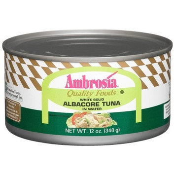 Ambrosia Tuna, Solid Albacore, In Water, 12-Ounce Can (Pack Of 4)