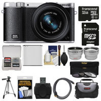Samsung NX3000 Smart Wi-Fi Digital Camera with 20-50mm Lens & Flash (Black) with 32GB Card + Case + Battery + Tripod + Filter + Tele/Wide Lens Kit