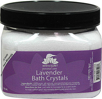 White Egret Bath Crystals, Lavender, 16 Ounce