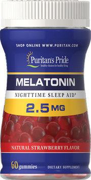 Puritan's Pride Melatonin Gummy 2.5 mg Strawberry Flavor-60 Gummies