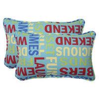 Pillow Perfect Outdoor 2-Piece Rectangular Throw Pillow Set - Green/Yellow Grillin