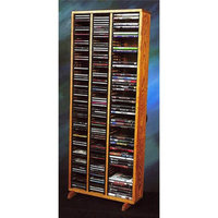 Wood Shed 21.25 in. Media Storage Tower w Individual Locking Slots (Unfinished)