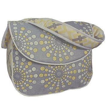 Hoohobbers Burst Sterling Messenger Diaper Bag - Grey/Yellow - 1 ct.