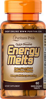Puritan's Pride Quick Dissolve Energy Melts Coffee Flavor-60 Tablets