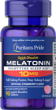 Puritan's Pride Quick Dissolve Melatonin 10mg Strawberry Flavor-90 Tablets
