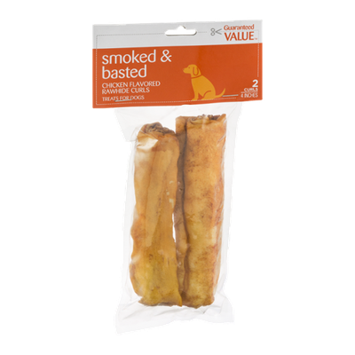 Guaranteed Value Smoked & Basted Chicken Flavored Rawhide Curls - 2 CT