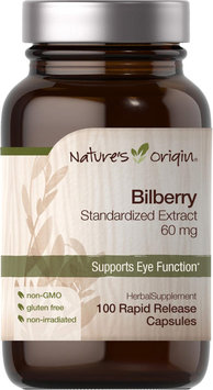 Nature's Origin Bilberry Standardized Extract 60 mg-100 Rapid Release Capsules