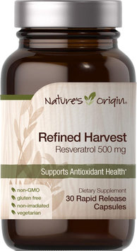 Nature's Origin Refined Harvest Resveratrol 500 mg-30 Rapid Release Capsules