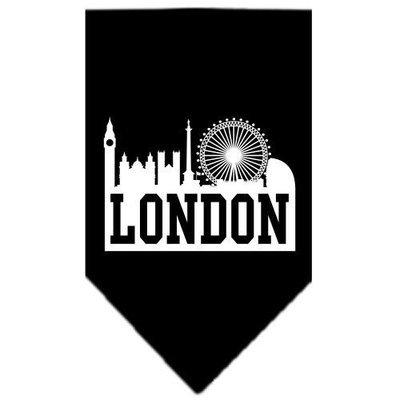 Mirage Pet Products 6679 LGBK London Skyline Screen Print Bandana Black Large