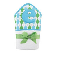 Mud Pie Initial Baby Boy Blue Initial Hooded Terry Towel, Letter E