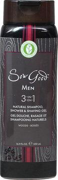 Sow Good - Men 3 in 1 Natural Shampoo Shower & Shaving Gel Woods - 16.9 oz.