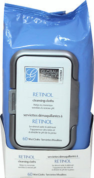 Global Beauty Care Premium Retinol Cleansing Cloths-60 Pack Wipes