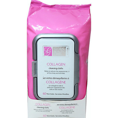 Global Beauty Care Premium Collagen Cleansing Cloths-60 Pack Wipes