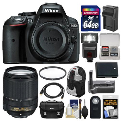 Nikon D5300 Digital SLR Camera Body (Black) with 18-140mm VR Zoom Lens + 64GB Card + Case + Flash + Grip + Battery & Charger Kit