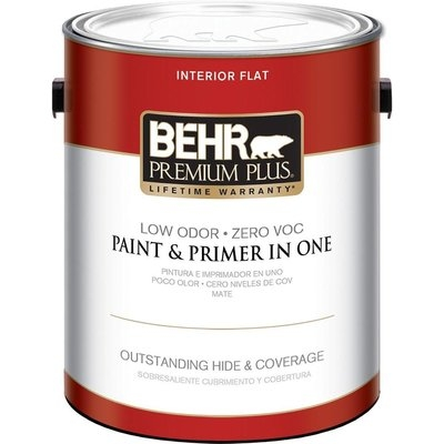 Interior Paint, Exterior Paint & Paint Samples: BEHR Premium Plus Paint 1-gal. Ultra Pure White Flat Zero VOC Interior Paint 105001