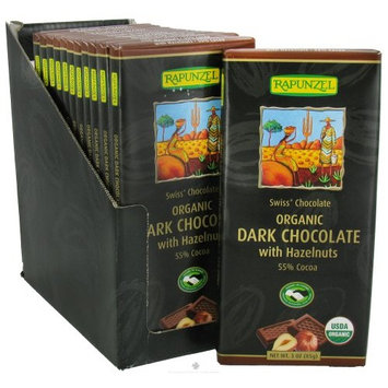Rapunzel - Organic Swiss Dark Chocolate with Hazelnuts 55% Cocoa - 3 oz.