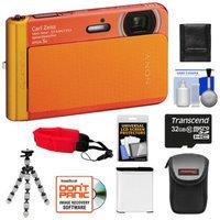 Sony Cyber-Shot DSC-TX30 Shock & Waterproof Digital Camera (Orange) with 32GB Card + Battery + Case + Floating Strap + Flex Tripod + Accessory Kit