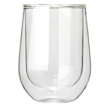Wine Enthusiast Steady-Temp Double Wall Cabernet Stemless Wine Glasses, Set of 2
