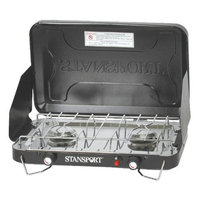 Stansport Two-Burner Stove -Piezo- W/ Drip Pan