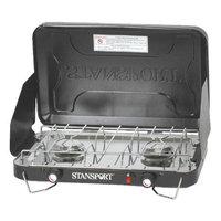 Stansport Two-Burner Stove -Piezo- W/ Drip Pan